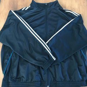 Black Sports Jacket W/ White & Blue Stripes